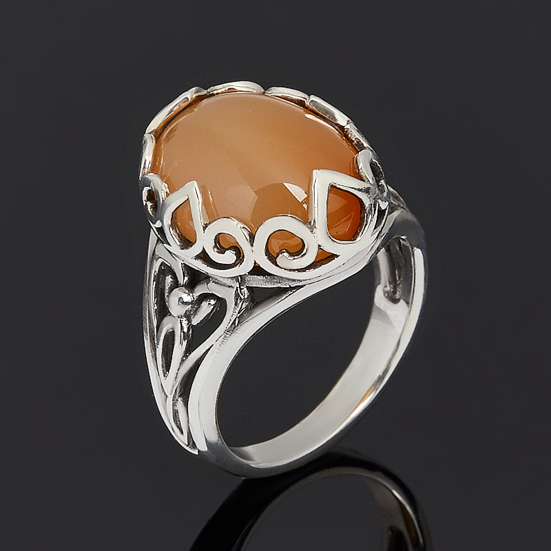 Кольцо сердолик (серебро 925 пр. оксидир.) размер 17