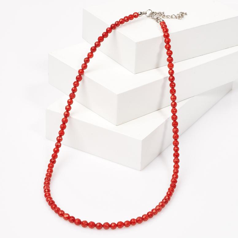 Бусы коралл красный (биж. сплав) огранка 4 мм 50 см (+7 см)
