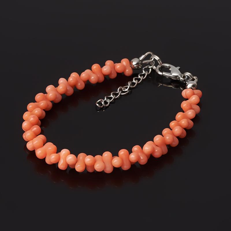 Браслет коралл оранжевый (биж. сплав) 16 см (+3 см)