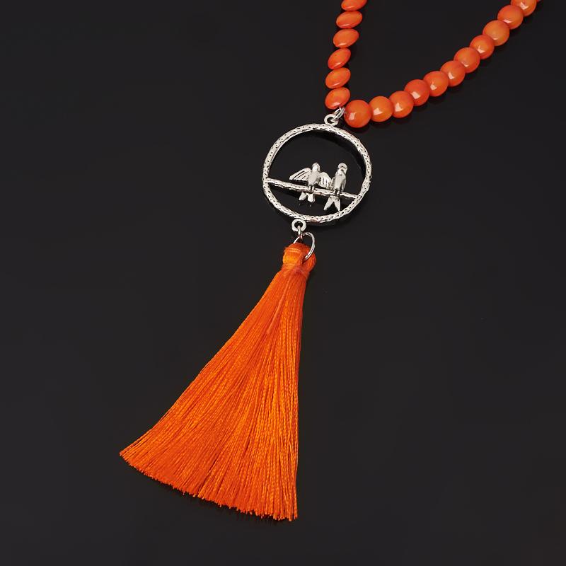 Бусы коралл оранжевый (биж. сплав, текстиль) (сотуар) длинные 7 мм 84 см книга 84 2 2