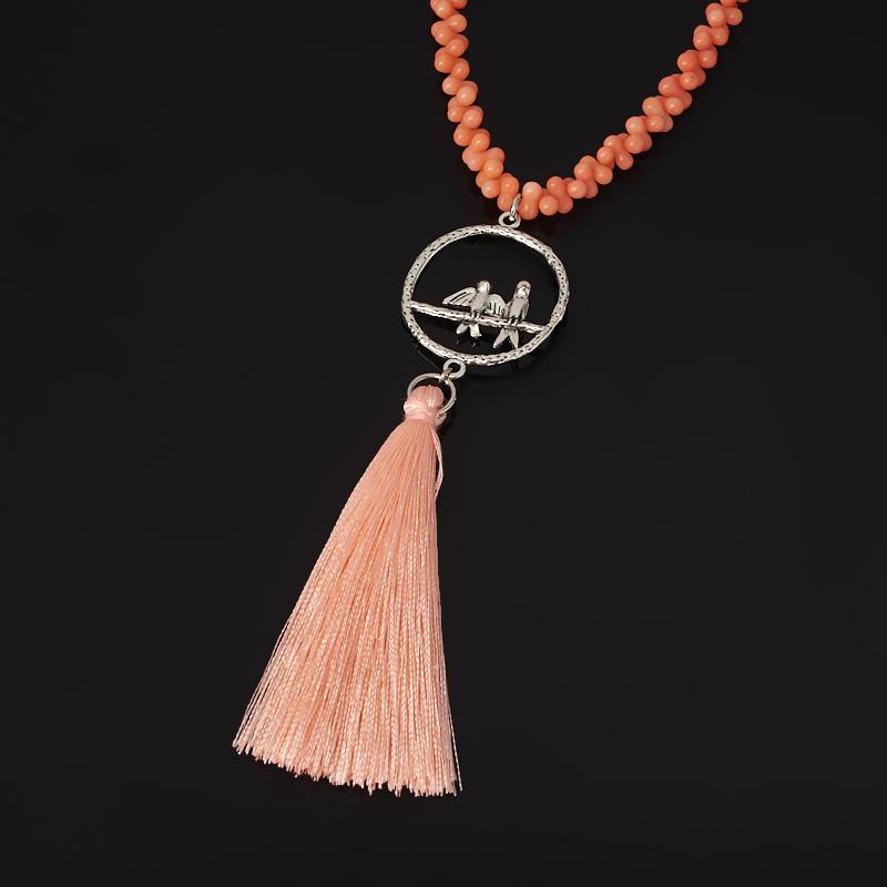Бусы коралл оранжевый (биж. сплав, текстиль) (сотуар) длинные 84 см книга 84 2 2