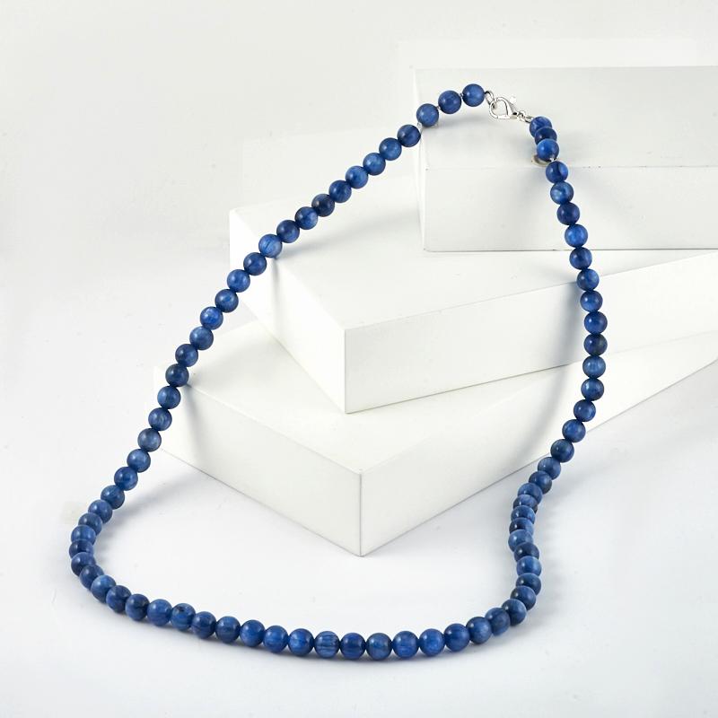 Бусы кианит синий (биж. сплав) 6 мм 52 см фото
