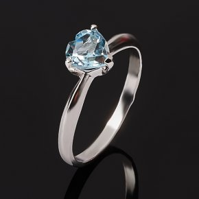 Кольцо топаз голубой Бразилия (серебро 925 пр. родир. бел.) огранка размер 16,5