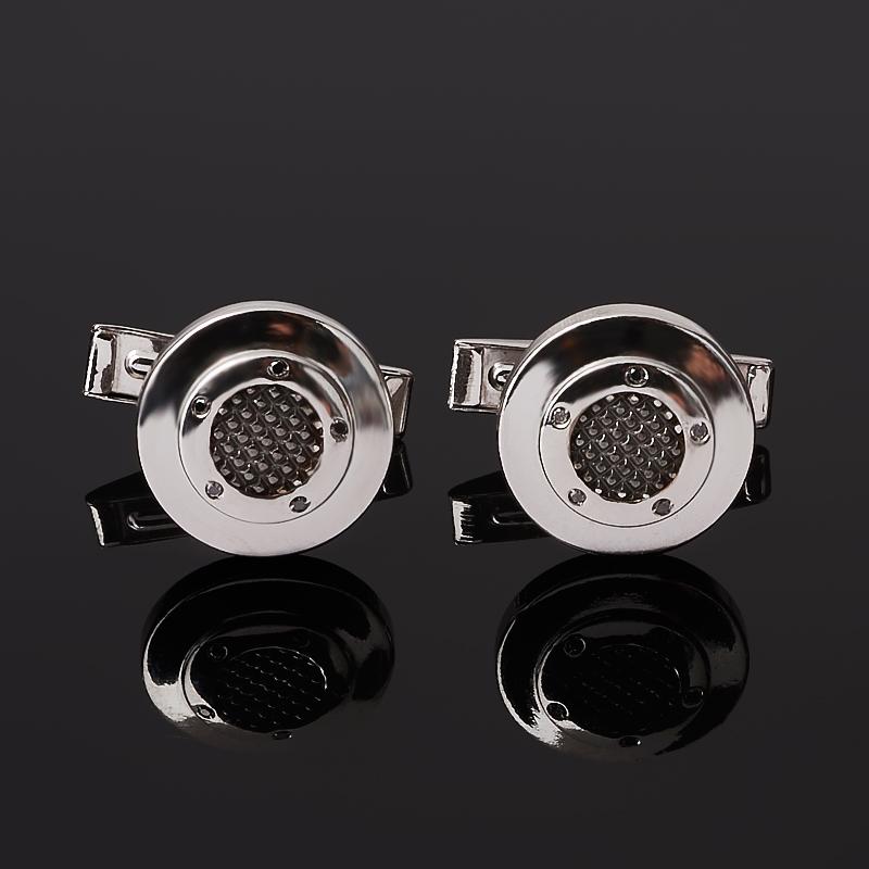 Запонки бриллиант черный  (серебро 925 пр. родир. бел.) огранка
