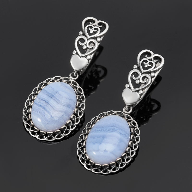 Серьги агат голубой (серебро 925 пр. оксидир.)