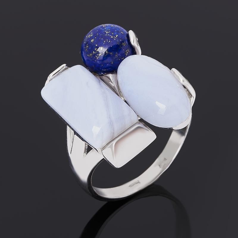 Кольцо агат, лазурит (серебро 925 пр. родир. бел.) размер 18,5