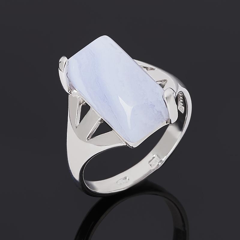 Кольцо агат голубой (серебро 925 пр. родир. бел.) размер 18