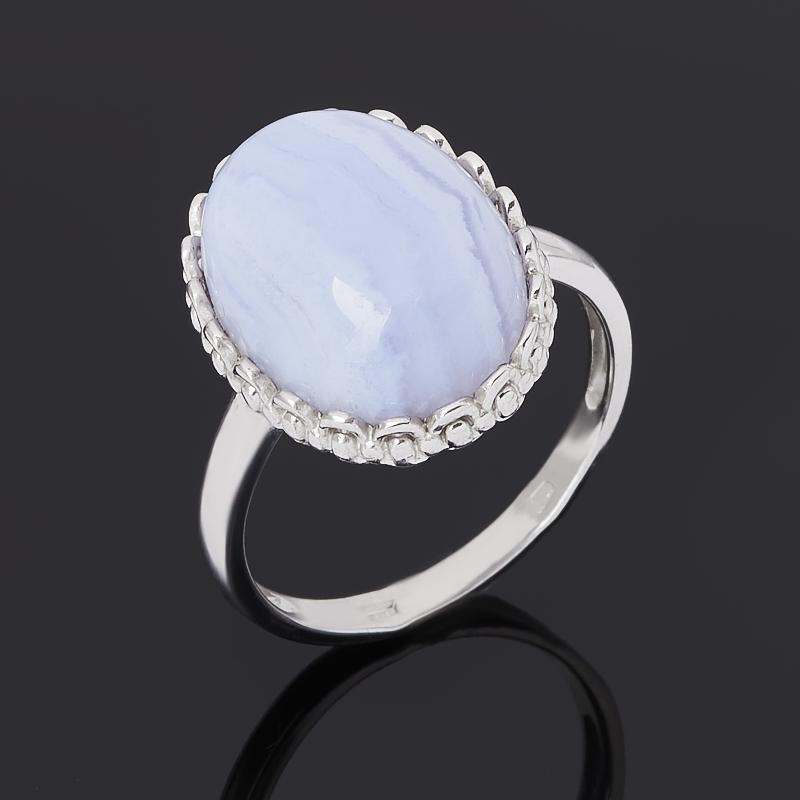 Кольцо агат голубой (серебро 925 пр. родир. бел.) размер 18,5