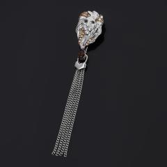 Брошь раухтопаз Бразилия (серебро 925 пр. родир. бел., родир. черн.) огранка