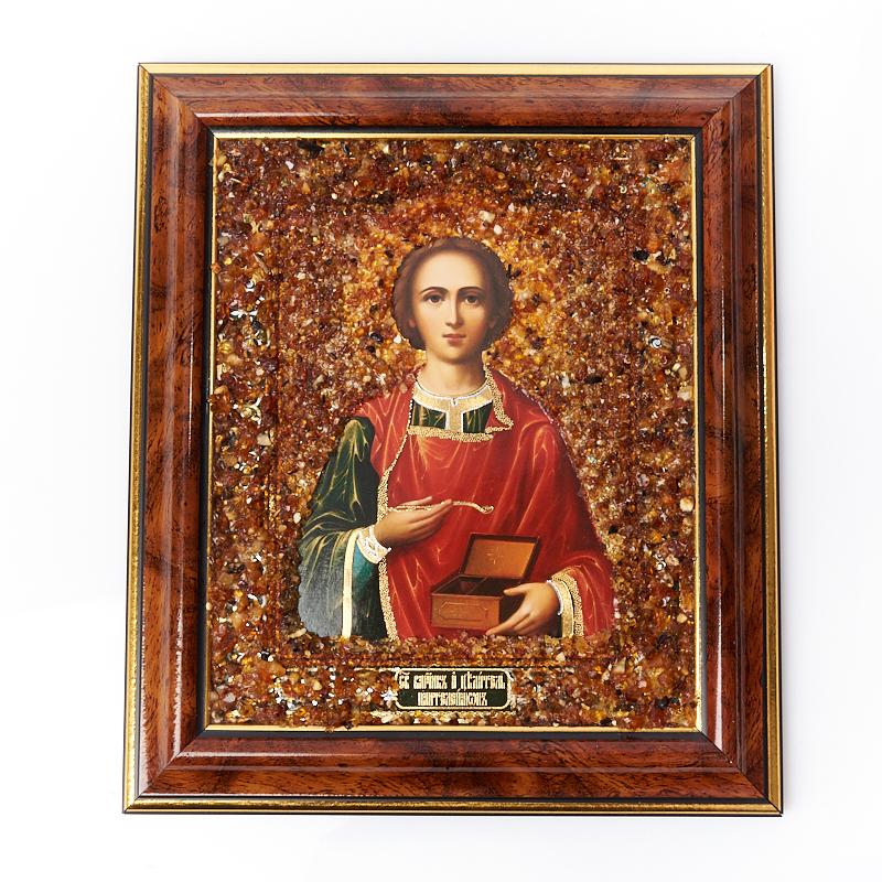 Изображение Святой Пантелеймон янтарь 14,5х17 см