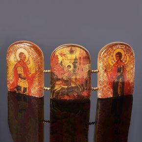 Изображение Триптих Георгий Победоносец селенит Россия 6х15 см