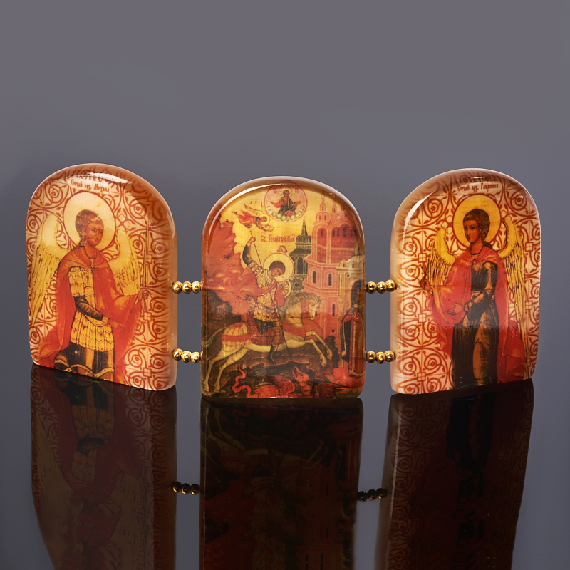 Изображение Триптих Георгий Победоносец селенит 6х15 см