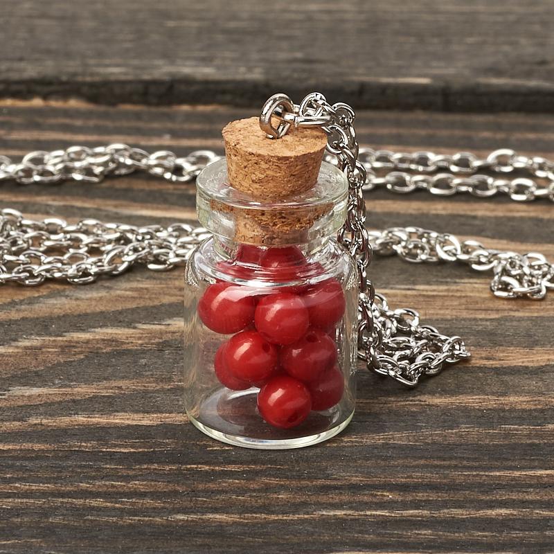 Кулон коралл красный (биж. сплав) бутылочка 3 см