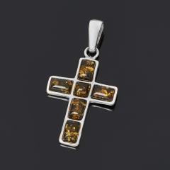 Кулон янтарь Россия (латунь посеребр.) крест