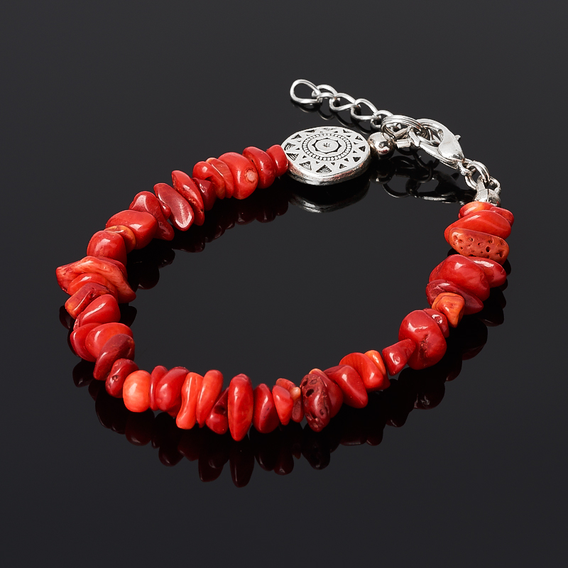 Браслет коралл красный (биж. сплав) 16-19 см