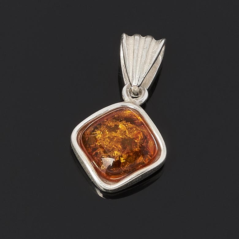 Кулон янтарь  (латунь посеребр.)