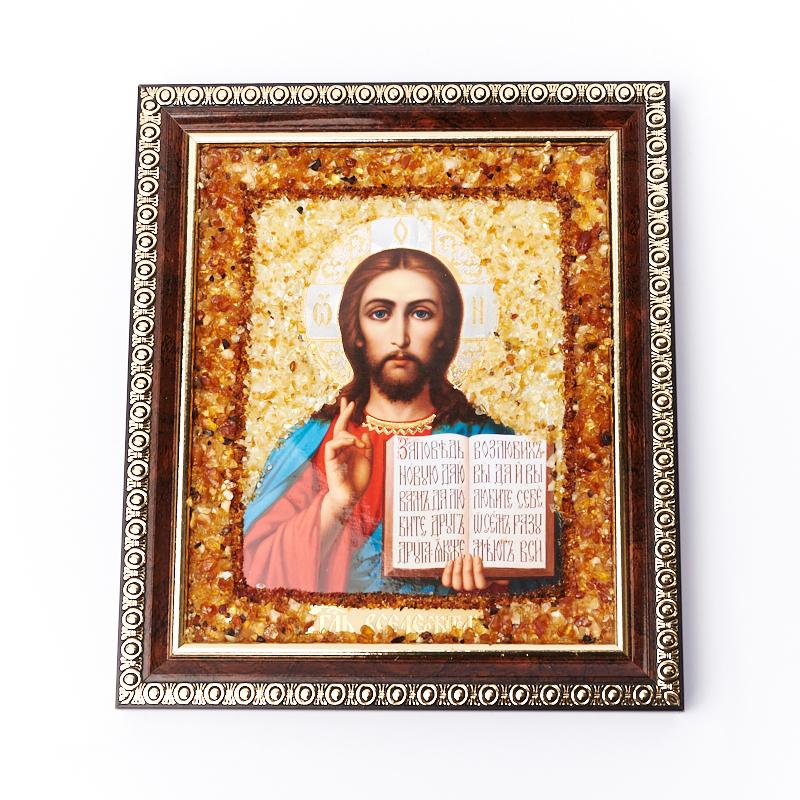 Изображение янтарь Спаситель 13х17 см