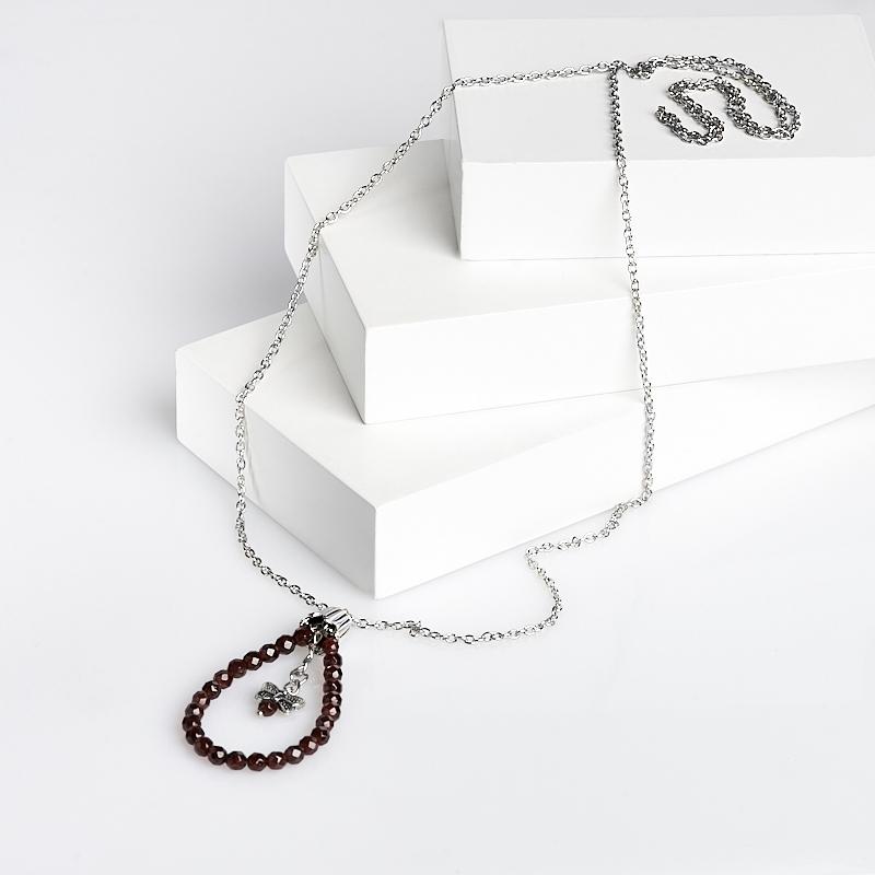 Кулон гранат альмандин Индия (биж. сплав) огранка 6 см
