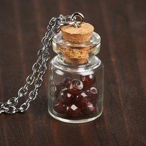 Кулон гранат альмандин Индия (биж. сплав) бутылочка огранка 3 см