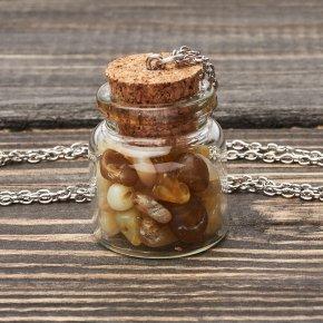 Кулон опал желтый Перу (биж. сплав) бутылочка 4 см
