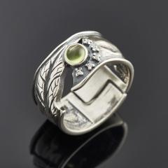 Кольцо хризолит США (серебро 925 пр. родир. бел.) (регулируемый) размер 16,5