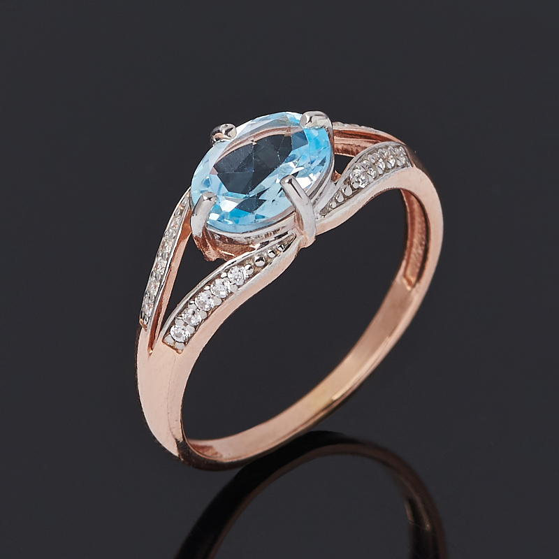 Кольцо топаз голубой (серебро 925 пр. позолота) огранка размер 17 кольцо коюз топаз кольцо т147017296