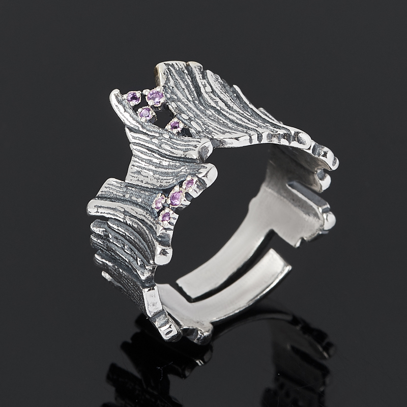 Кольцо аметист (серебро 925 пр. оксидир., позолота) огранка размер регулируемый