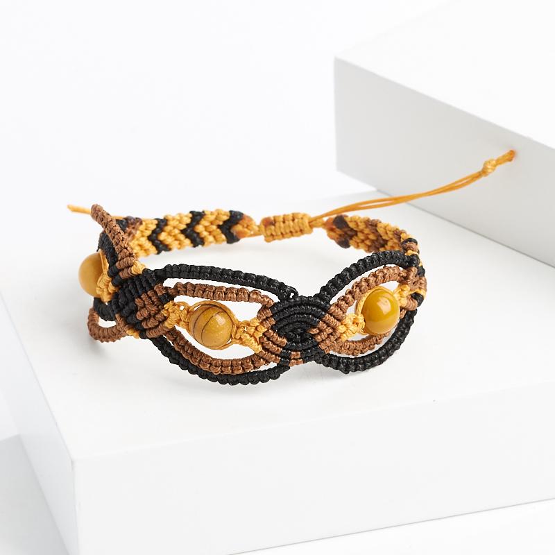 Браслет яшма желтая (текстиль) макраме 8 мм 16 см сумка с макраме