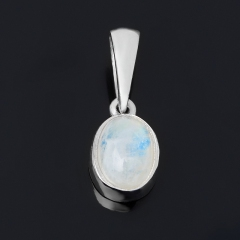 Кулон лунный камень Индия (серебро 925 пр. родир. бел.) овал