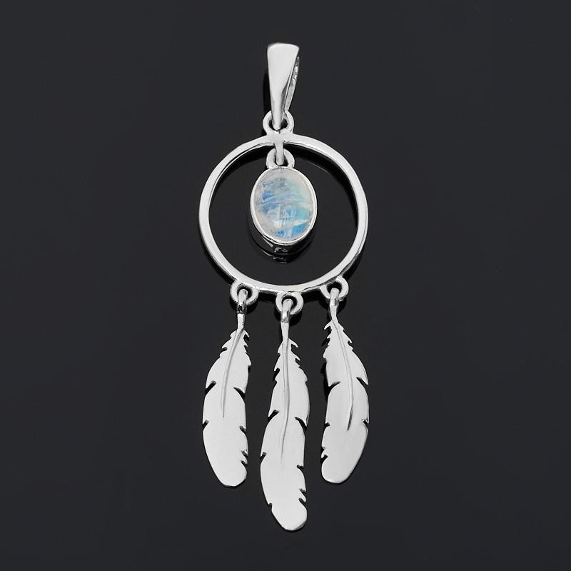 Кулон лунный камень (серебро 925 пр. родир. бел.)