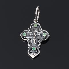 Кулон изумруд Колумбия (серебро 925 пр. оксидир., родир. бел.) крест огранка