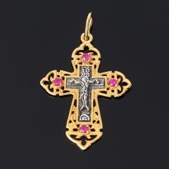 Кулон рубин Мьянма (серебро 925 пр. оксидир., позолота) крест огранка