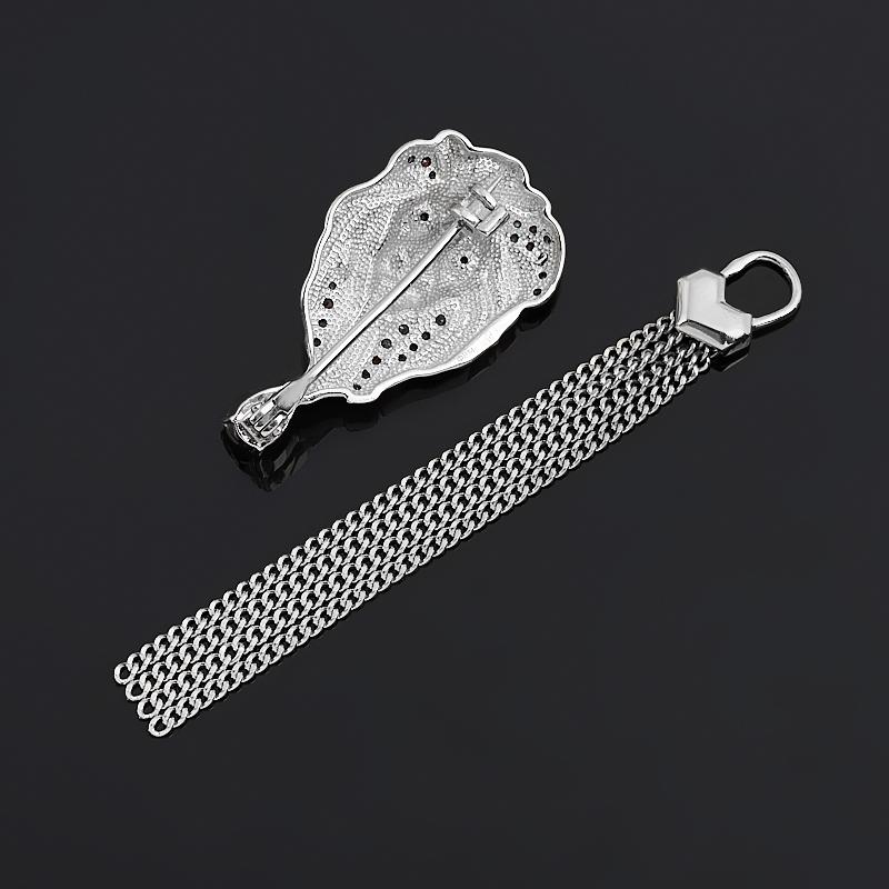 Брошь гранат альмандин Индия (серебро 925 пр. родир. бел., родир. черн.) огранка