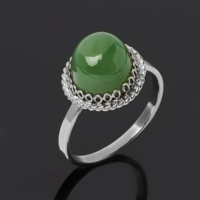 Кольцо нефрит зеленый Россия (нейзильбер) размер 17,5