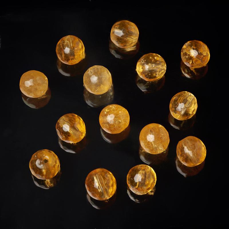 Бусина цитрин шарик 6 мм огранка (1 шт)