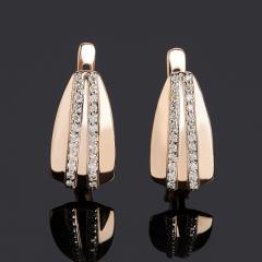 Серьги бриллиант Индия (золото 585 пр. родир. бел.) огранка