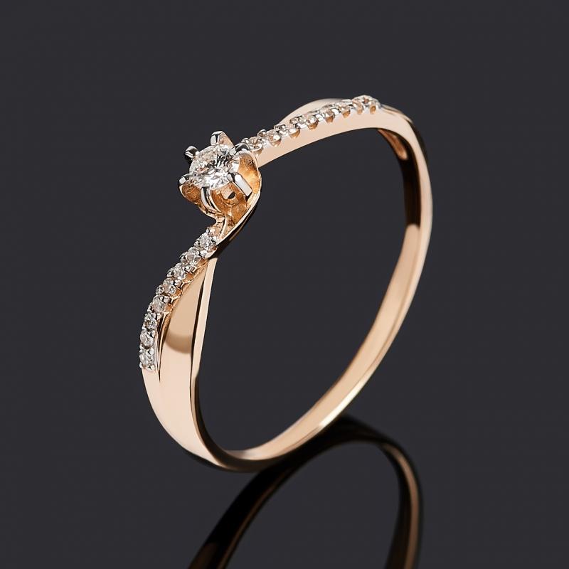 Кольцо бриллиант Индия (золото 585 пр. родир. бел.) огранка размер 19