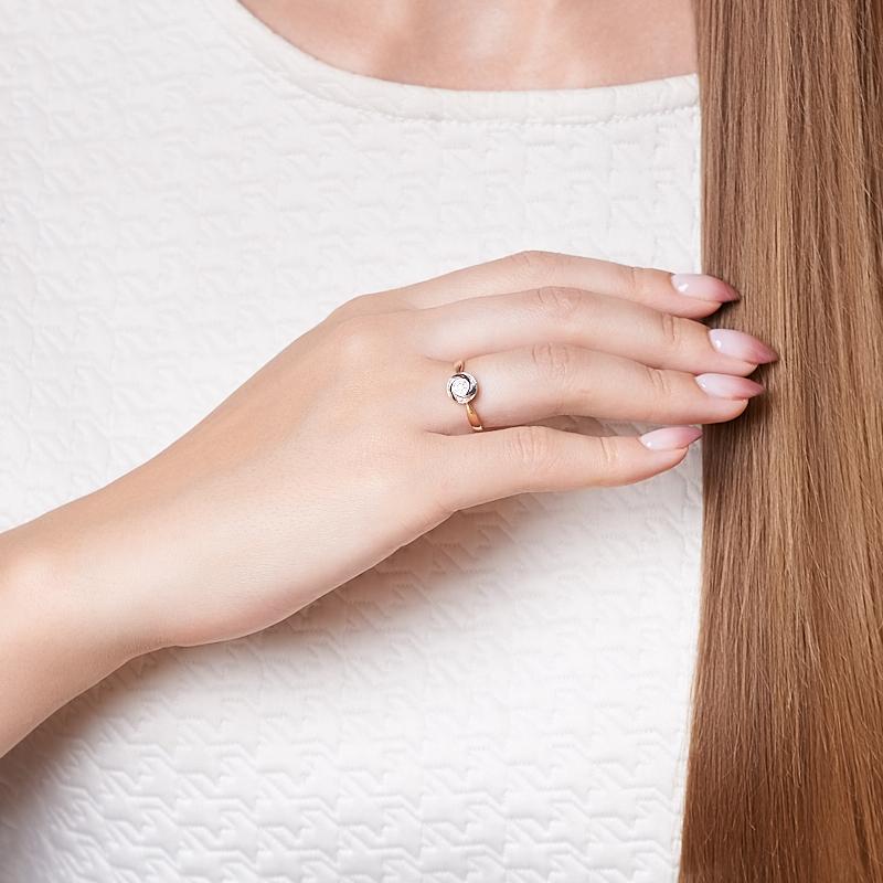 Кольцо бриллиант Индия (золото 585 пр. родир. бел.) огранка размер 17,5