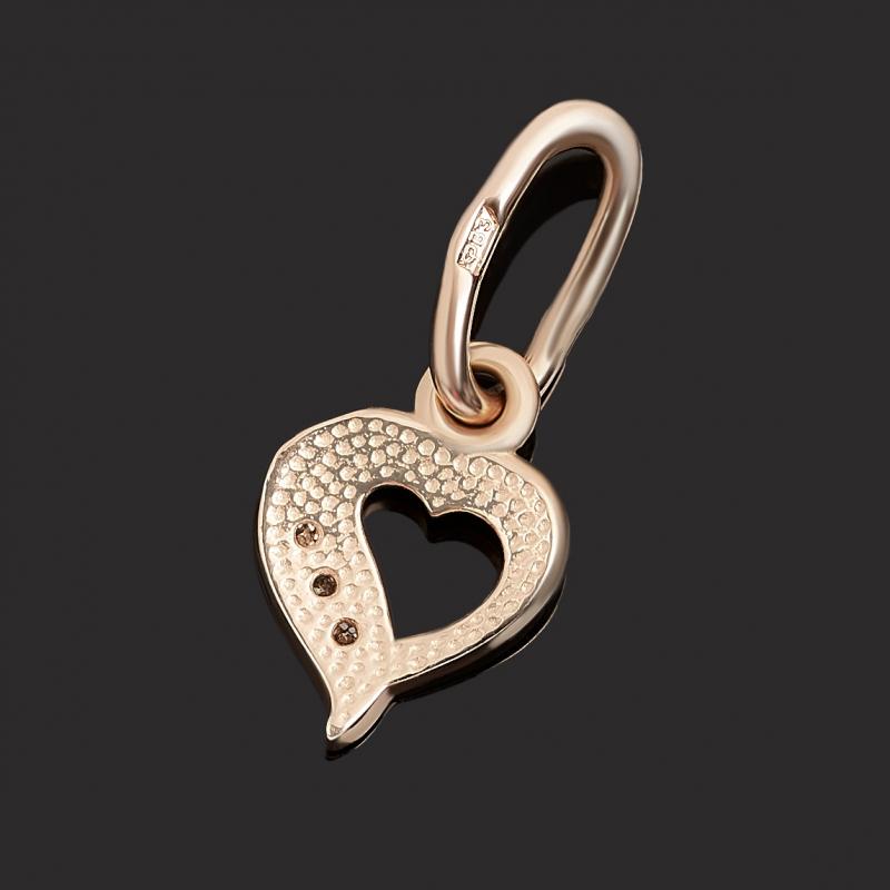 Кулон бриллиант Индия (золото 585 пр. родир. бел.) сердечко огранка