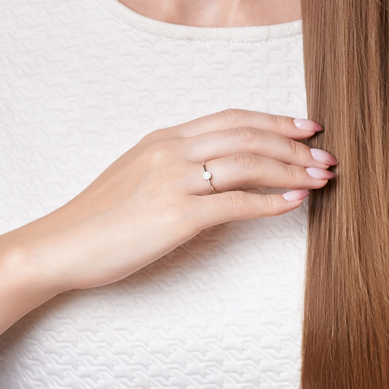 Кольцо бриллиант Индия (золото 585 пр. родир. бел.) огранка размер 18,5