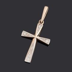 Кулон бриллиант Индия (золото 585 пр. родир. бел.) крест огранка
