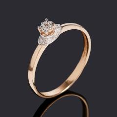 Кольцо бриллиант Индия (золото 585 пр. родир. бел.) огранка размер 16