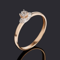 Кольцо бриллиант Индия (золото 585 пр. родир. бел.) огранка размер 16,5