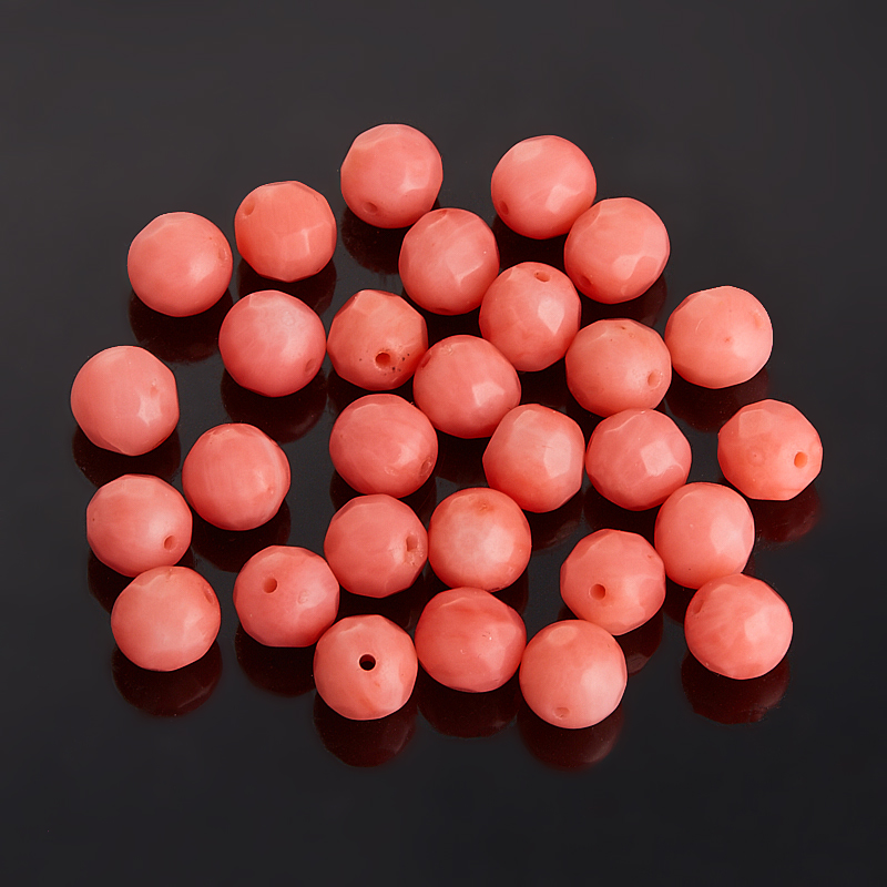 Бусина коралл розовый шарик 6 мм огранка (1 шт)