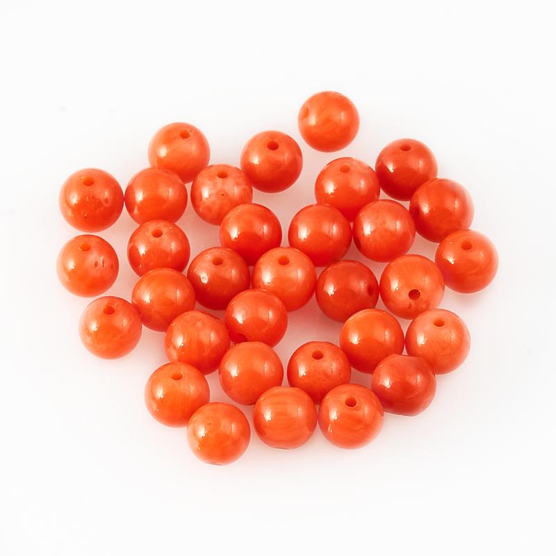 Бусина коралл оранжевый шарик 5 мм (1 шт)