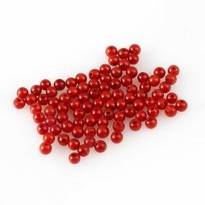 Бусина коралл красный Индонезия шарик 4-4,5 мм (1 шт)