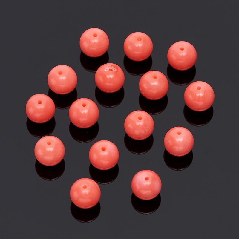Бусина коралл розовый шарик 6 мм (1 шт)