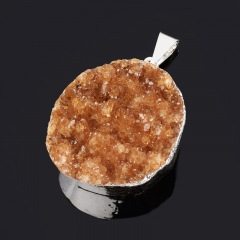 Кулон цитрин Бразилия (биж. сплав) друза 3,5-4,5 см
