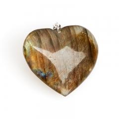 Кулон лабрадор Мадагаскар (биж. сплав) сердечко 4 см