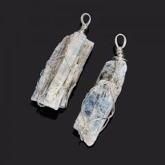 Кулон кианит синий Бразилия (биж. сплав) кристалл 4,5-5 см